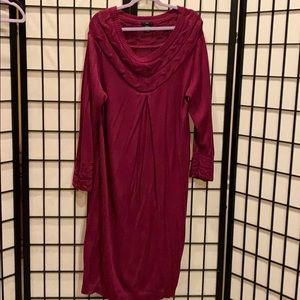Ellos Sweater dress 1XL wine with cable knit trim